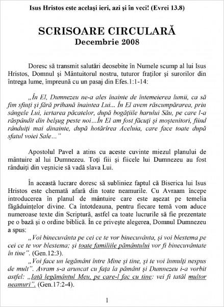 Scrisoare Circulara - 2008 Decembrie
