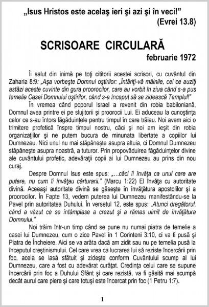 Scrisoare circulara - 1972 februarie