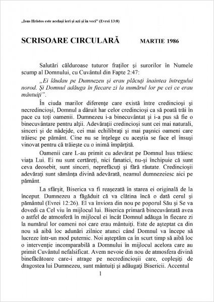 Scrisoare circulara - 1986 martie