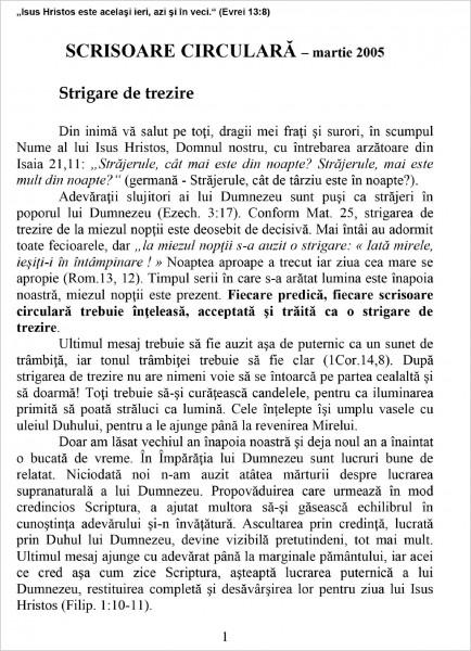 Scrisoare circulara - 2005 martie
