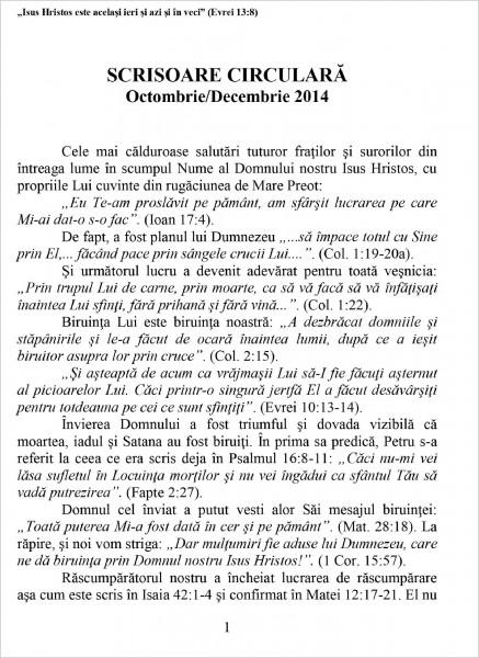 Scrisoare circulara 2014 octombrie-decembrie