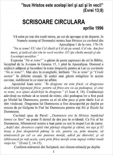 Scrisoare circulara - 1996 aprilie