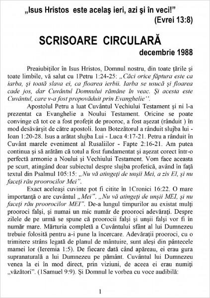 Ewald Frank - Scrisoare circulara - 1988 decembrie