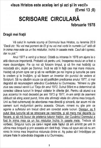 Scrisoare circulara - 1978 februarie