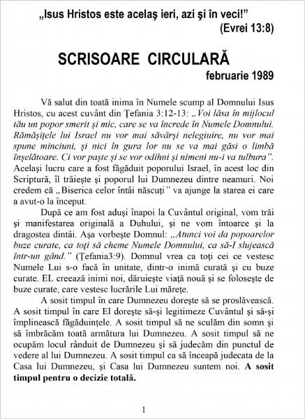 Ewald Frank - Scrisoare circulara - 1989 februarie